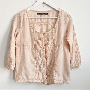 Zara Pink Cotton Top Blouse 3/4 Sleeves Size M
